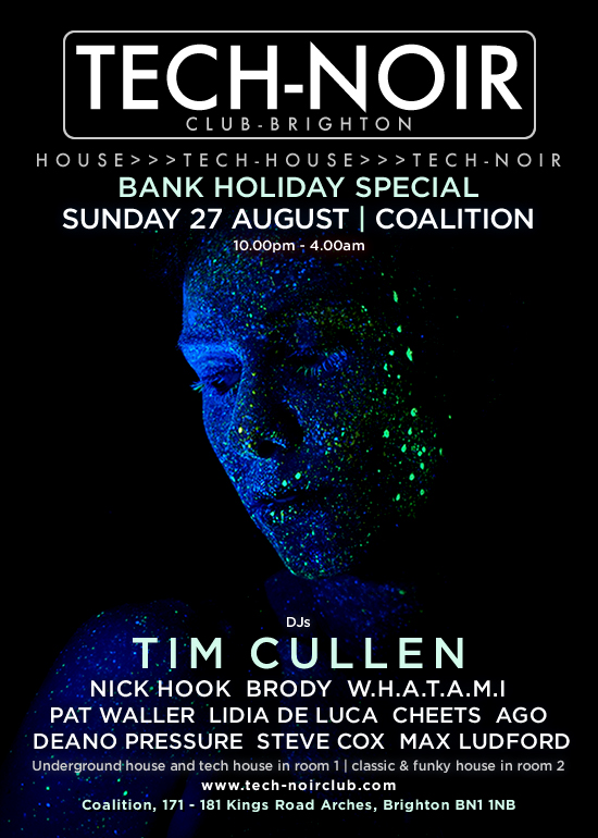 Tech-noir Club at Coalition with DJs Nick Hook, Brody and special guest Tim Cullen - event artwork